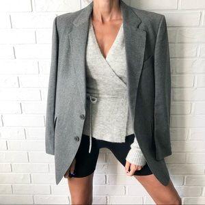 Vintage 60s 70s grey wool oversize blazer L